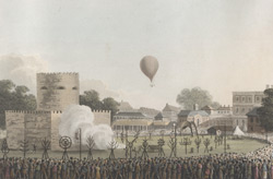 The Tower & preparation of the Fire Works, with the Balloon